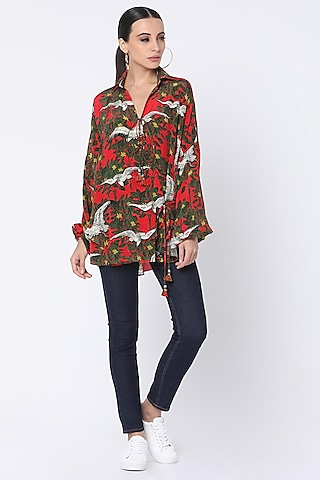 Red Printed Wrap Shirt by Masaba