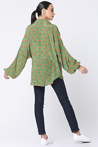 Mint Green Printed Wrap Shirt by Masaba