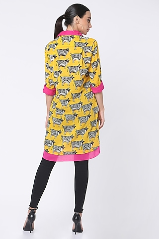 Yellow Printed Double Shirt by Masaba
