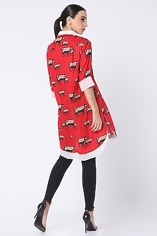 Red Printed Double Shirt by Masaba