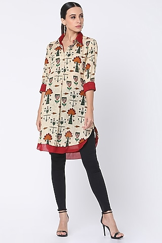 Beige Printed Double Shirt by Masaba