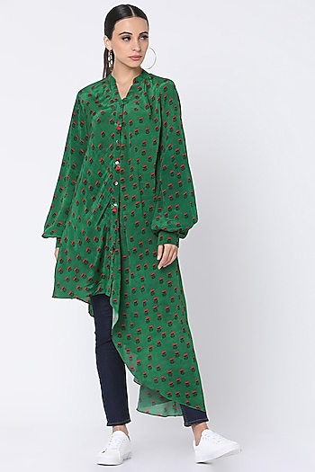 Green Printed Shirt With Tassels by Masaba