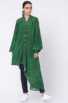 Green Printed Shirt With Tassels by Masaba-MASABA