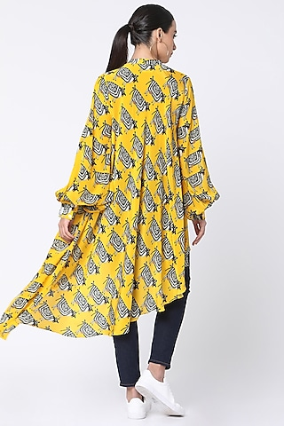 Yellow Printed Shirt With Tassels by Masaba
