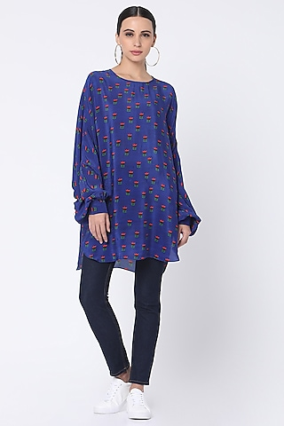 Blue Lotus Printed Top by Masaba