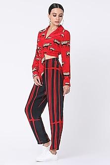 Red Printed Pant Set by Masaba-MASABA