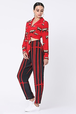 Red Printed Pant Set by Masaba