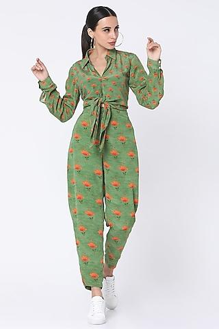 Mint Green Printed Pant Set by Masaba