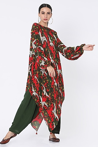 Red & Green Printed Tunic Set by Masaba