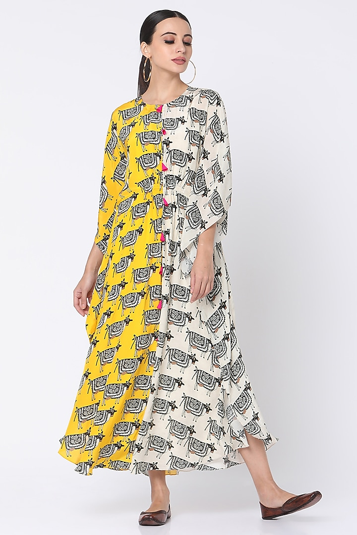 Yellow & Ivory Printed Kaftan by Masaba