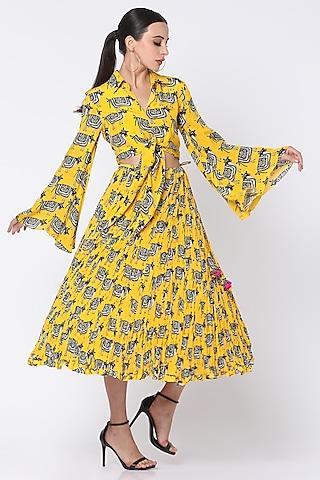 Yellow Printed Skirt Set by Masaba