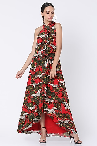 Red Printed Halter Dress by Masaba