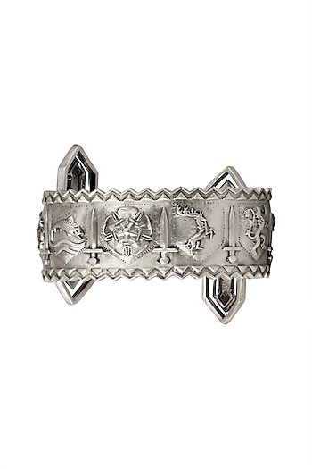 Silver Finish Song Of The Swords Cuff by Masaba X GOT