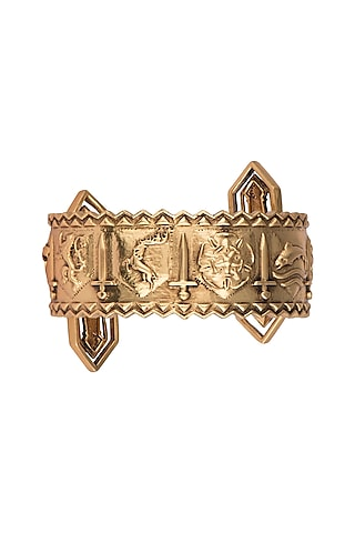 Gold Finish Song Of The Swords Cuff by Masaba X GOT