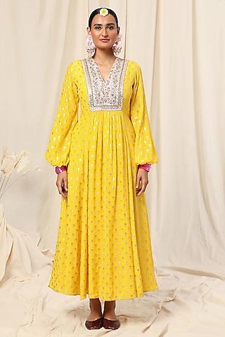 Lemon Yellow Vintage Bud Printed Maxi Dress by Masaba