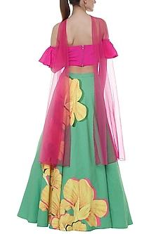 Green & Rani Pink Basil Crayon Flower Printed Lehenga Set by Masaba