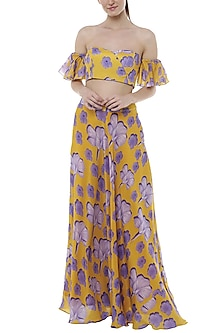 Yellow Bumblebee Crayon Flower Printed Lehenga Skirt With Off Shoulder Blouse by Masaba