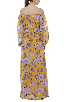 Yellow Bumblebee Crayon Flower Printed Off Shoulder Maxi Dress by Masaba