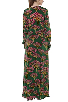 Green Basil Butterfly Bush Printed & Embroidered Angrakha Set by Masaba