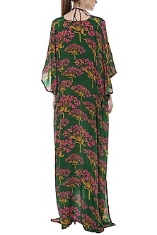 Green Basil Butterfly Bush Printed Kaftan With Bikini by Masaba