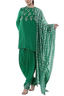 Green Embroidered & Printed Kurta Set by Masaba