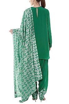 Green Embroidered & Printed Kurta Set by Masaba