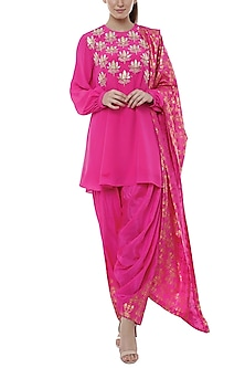 Cabaret Pink Embroidered & Printed Kurta Set by Masaba