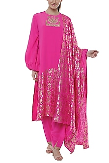 Cabaret Pink Patchworked, Embroidered & Printed Kurta Set by Masaba