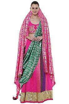 Cabaret Pink Handwoven Banarasi Lehenga Set by Masaba