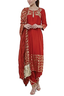 Scarlet Red Embroidered & Printed Kurta Set by Masaba