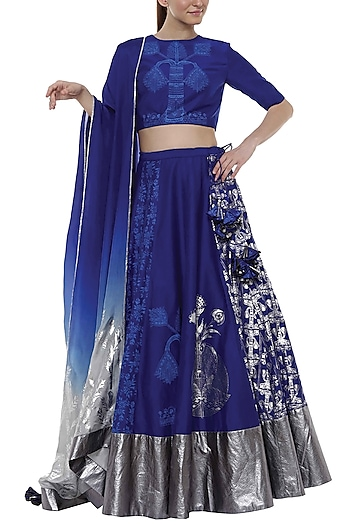 Egyptian Blue Multi Printed Lehenga Set by Masaba