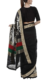 Black Banarasi Saree With Multi Colored Pallu by Masaba