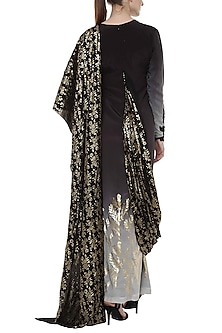 Black Ombre Printed Saree Gown by Masaba