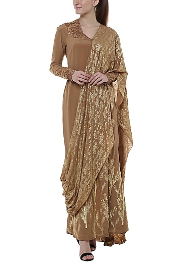 Brown Printed Saree Gown by Masaba