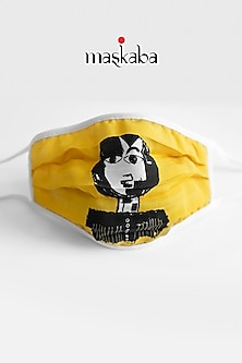 Yellow Printed Reusable Mask by Masaba