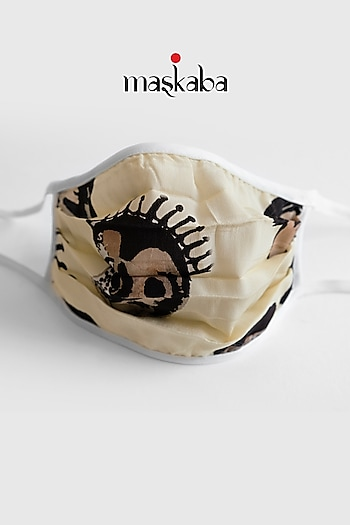 Beige Printed Reusable Mask by Masaba