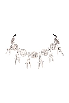 Silver Finish Seven Kingdoms Choker Necklace by Masaba X GOT