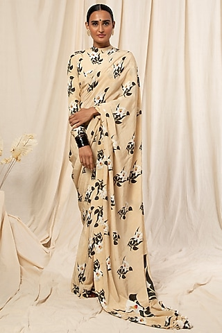 Ivory Floral Printed Saree Set by Masaba