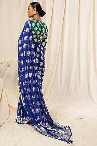 Blue Floral Printed Saree Set by Masaba