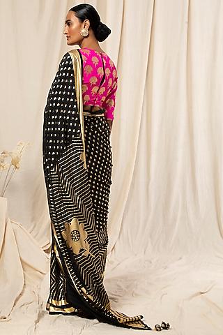 Black & Hot Pink Printed Saree Set by Masaba