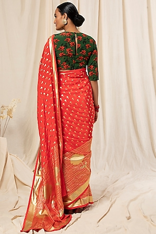 Red Printed & Striped Saree Set by Masaba