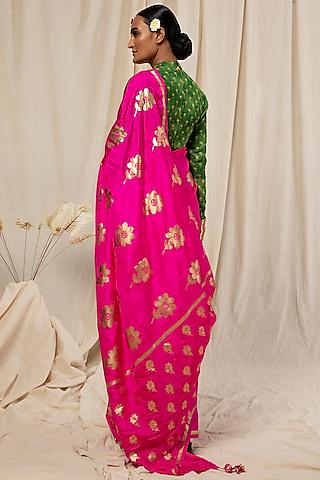 Hot Pink & Green Floral Printed Saree Set by Masaba