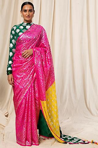 Hot Pink & Bottle Green Printed Saree Set by Masaba