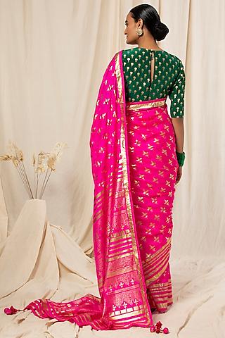 Hot Pink Silk Saree Set by Masaba