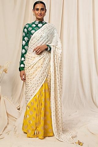 Ivory & Lemon Yellow Color Blocked Saree Set by Masaba
