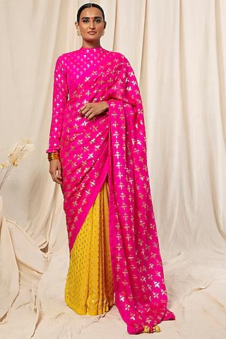 Hot Pink & Lemon Yellow Color Blocked Saree Set by Masaba