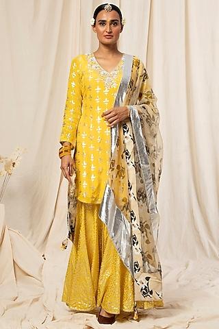 Lemon Yellow Printed Sharara Set by Masaba