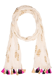 Ivory Vase Printed Crushed Scarf by Masaba