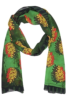 Green Revised Shadowed Pine Stole Scarf by Masaba
