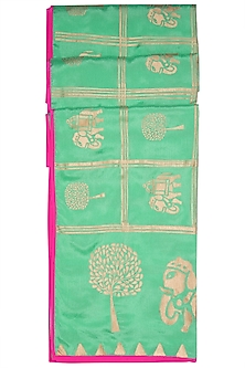 Green Gird Elephant & Tree Scarf by Masaba